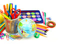 School supplies colorful collection of various over white Royalty Free Stock Photography