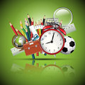 School supplies - glossy background Royalty Free Stock Image