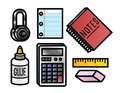 School supplies icons cute and colorful cartoon Stock Photos
