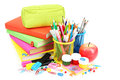School supplies isolated on white. Royalty Free Stock Photo