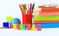 School supplies the main word back to concept Royalty Free Stock Image