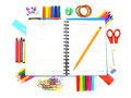School supplies notebook with colorful border of over a white background Royalty Free Stock Image