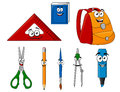 School supplies and objects in cartoon style for education design Royalty Free Stock Photo