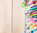 School supplies on a old wooden background Royalty Free Stock Photography