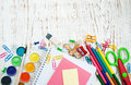 School supplies on a old wooden background Royalty Free Stock Photos