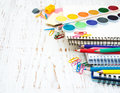 School supplies on a old wooden background Stock Photo