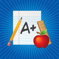 School supplies and paper blue starburst Royalty Free Stock Images