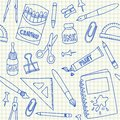 School supplies seamless pattern doodles on squared paper Royalty Free Stock Photography
