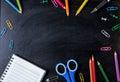 School supplies side border on a chalkboard background. School s Royalty Free Stock Photo