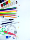 School supplies side border Royalty Free Stock Photo