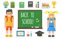 School supplies stationery equipment and schoolkid vector illustration.