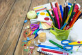 School supplies on the table Royalty Free Stock Photos