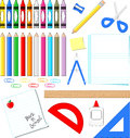 School supplies vector clip art on white background in format very easy to edit individual objects Royalty Free Stock Images