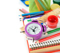 School supplies on a white background Stock Images