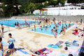School swimming competition algarve portugal circa june children playing in a pool while waiting for Royalty Free Stock Images