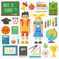 School symbols and kids set.