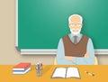 School teacher man at the desk flat education illustration Royalty Free Stock Photo