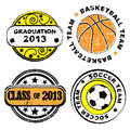 School team stamps and graduation grungy collection isolated on white Royalty Free Stock Photo