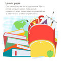 School template with backpack and books with text place.Vector Illustration. Royalty Free Stock Photo