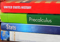 School textbooks used textbook for high in united states history math precalculus and physics Royalty Free Stock Images