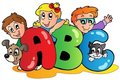 School theme with ABC leters