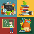 School theme set. Back to school, backpack, schoolboy and other elements. Royalty Free Stock Photo