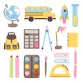 School time or back to school set. Collection of various school supplies. Royalty Free Stock Photo