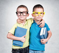 School time twins holding books on the gray background Stock Photos
