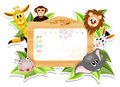 School timetable with animals illustration Royalty Free Stock Photography