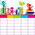 School timetable with books and cartoon kids playing
