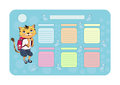 School timetable with cat and maus Stock Images