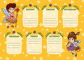 School timetable for children with days of week. Fairy girls Royalty Free Stock Photo