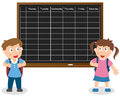 School Timetable with Kids Royalty Free Stock Images