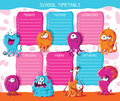 School timetable monsters. Vector illustration Royalty Free Stock Photo