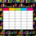 School timetable template with books for students and pupils Royalty Free Stock Photo