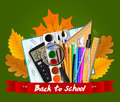 School tools. Autumn leaves and red ribbon with the inscription. Vector image