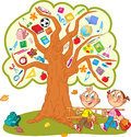School tree the illustration shows the instead of leaves shows the attributes and items for under the funny boy and girl Stock Photography