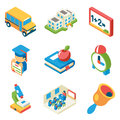School, university and education isometric 3d flat