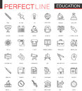 School university education thin line web icons set. Outline stroke icon design. Royalty Free Stock Photo