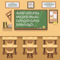 School, university, institute, college classroom with chalkboard and desk. Vector flat illustration