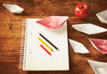 School utensils and origami boats Stock Photography