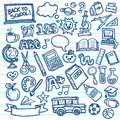 School vector doodles set of freehand drawings of icons on lined paper background Stock Photo