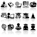 School vector icon set icons on grey background eps file available Stock Images