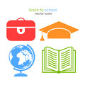 School vector icons isolated on white Stock Images