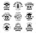 School vector logos set, monochrome vintage design education signs. Back to school, university, college, learning logo
