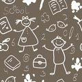 School vintage seamless pattern sketch Stock Photography