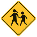 School warning sign traffic road with for crossing kids Royalty Free Stock Images
