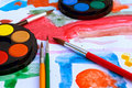 School - watercolor paints Royalty Free Stock Photo