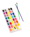 School watercolor paints and brushes for Stock Image