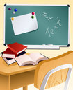 School wood desk and books Royalty Free Stock Photo